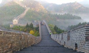 À l'aube sur la Grande Muraille de Chine